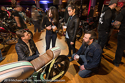 With Peter and Mike Müller's Federal Moto custom Honda at the Mama Tried Show. Milwaukee, WI. USA. Saturday February 24, 2018. Photography ©2018 Michael Lichter.