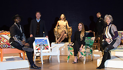 "Bonhams, London, February 29th 2016. L-R Designer Samson Soboye, artist David Bent, Emma, Viscountess Weymouth of Longleat, Made In Chelsea's Victoria Baker-Harber and Mark Francis Vandelli and actress Maureen Lipman during a photocall for ""Sitting Pretty"", featuring unique, hand painted and upholstered chairs made by 30 celebrities and artists, at Bonhams ahead of their auction in support of a leading AIDS charity, CHIVA Africa.<br /> ©Paul Davey<br /> FOR LICENCING CONTACT: Paul Davey +44 (0) 7966 016 296 paul@pauldaveycreative.co.uk"