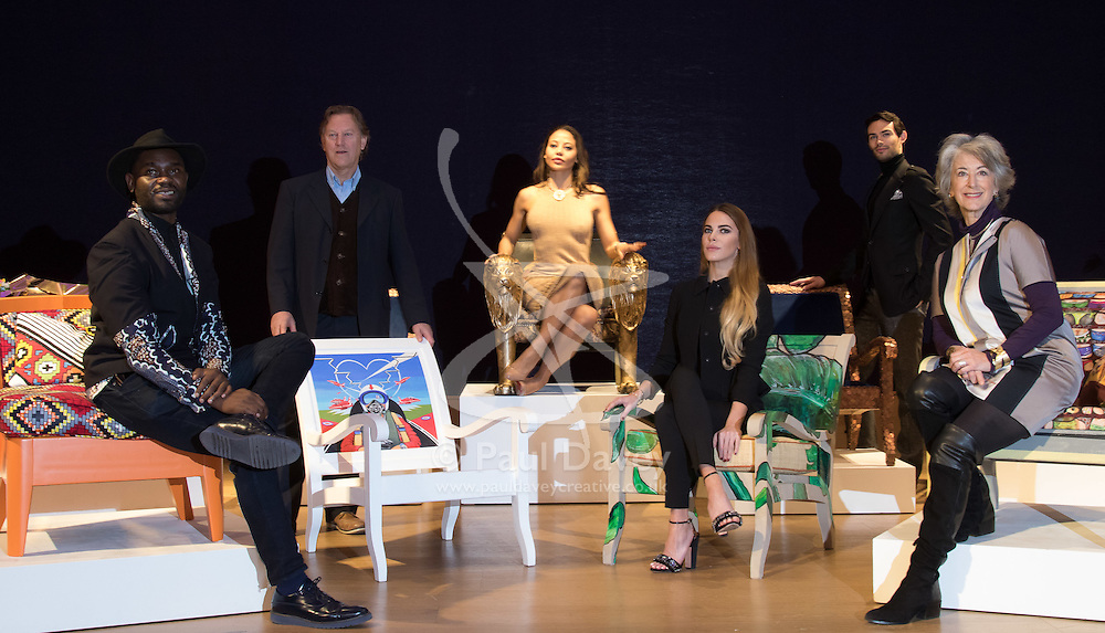 """Bonhams, London, February 29th 2016. L-R Designer Samson Soboye, artist David Bent, Emma, Viscountess Weymouth of Longleat, Made In Chelsea's Victoria Baker-Harber and Mark Francis Vandelli and actress Maureen Lipman during a photocall for """"Sitting Pretty"""", featuring unique, hand painted and upholstered chairs made by 30 celebrities and artists, at Bonhams ahead of their auction in support of a leading AIDS charity, CHIVA Africa.<br /> ©Paul Davey<br /> FOR LICENCING CONTACT: Paul Davey +44 (0) 7966 016 296 paul@pauldaveycreative.co.uk"""