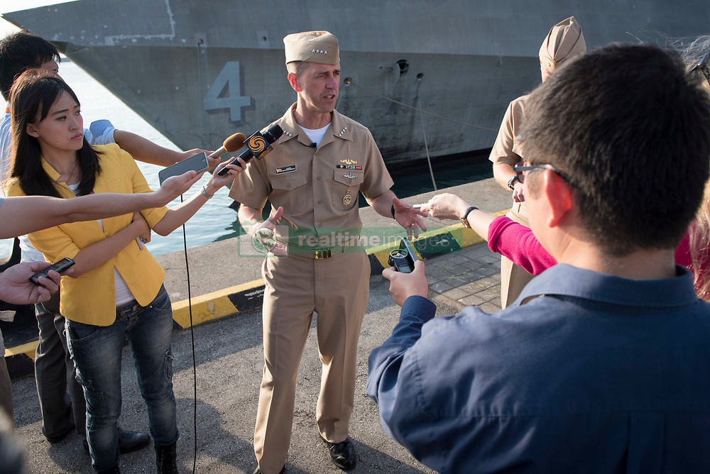 CHANGI, Singapore (May 16, 2017)  Chief of Naval Operations Adm. John Richardson holds a media availability after meeting with the crew of the littoral combat ship USS Coronado (LCS 4). The ship is moored in Changi, Singapore in preparation for the International Maritime Defense Exhibition. (U.S. Navy photo by Mass Communication Specialist 1st Class Nathan Laird/Released)170516-N-AT895-093 <br /> Join the conversation:<br /> http://www.navy.mil/viewGallery.asp<br /> http://www.facebook.com/USNavy<br /> http://www.twitter.com/USNavy<br /> http://navylive.dodlive.mil<br /> http://pinterest.com<br /> https://plus.google.com