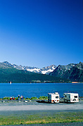 Alaska Seward.  Campers motorhomes with a view across Resurrection Bay in summer.
