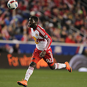 Kemar Lawrence, New York Red Bulls,  in action during the New York Red Bulls Vs Houston Dynamo, Major League Soccer regular season match at Red Bull Arena, Harrison, New Jersey. USA. 19th March 2016. Photo Tim Clayton
