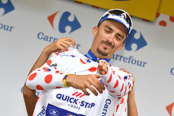 July 27, 2018 - Laruns, FRANCE - French Julian Alaphilippe of Quick-Step Floors celebrates on the podium in the red polka-dot jersey for best climber after the 19th stage of the 105th edition of the Tour de France cycling race, 200,5km from Lourdes to Laruns, France, Friday 27 July 2018. This year's Tour de France takes place from July 7th to July 29th. BELGA PHOTO DAVID STOCKMAN (Credit Image: © David Stockman/Belga via ZUMA Press)