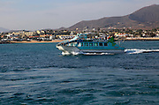 Sightseeing glass bottomed motor boat at Corralejo, Fuerteventura, Canary Islands, Spain