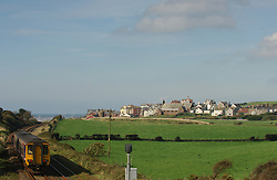 Train on local line near Sellafield nuclear reprocessing plant; Cumbria UK