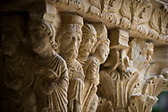 Sculpted capitals inside the St. Trophime Cloister, built during the middle ages, in Arles, France.