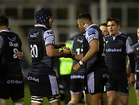 Rugby Union - 2020 / 2021 Gallagher Premiership - Newcastle Falcons vs Sale - Kingston Park<br /> <br /> Luther Burrell of Newcastle Falcons and Josh Basham of Newcastle Falcons celebrate at full time<br /> <br /> COLORSPORT/BRUCE WHITE