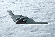 B-2 Stealth Bomber, aerial view over clouds