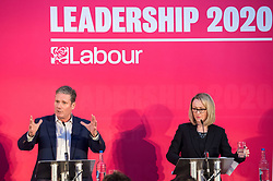 © Licensed to London News Pictures. 01/02/2020. Bristol, UK. KIER STARMER and REBECCA LONG-BAILEY at the Labour Party Leadership Hustings, at Ashton Gate Stadium. Candidates: Emily Thornberry, Lisa Nandy, Kier Starmer, Rebecca Long-Bailey. Photo credit: Simon Chapman/LNP.
