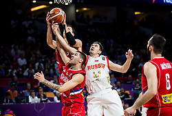 Vladimir Lucic of Serbia and Stefan Jovic of Serbia vs Semen Antonov of Russia during basketball match between National Teams of Russia and Serbia at Day 16 in Semifinal of the FIBA EuroBasket 2017 at Sinan Erdem Dome in Istanbul, Turkey on September 15, 2017. Photo by Vid Ponikvar / Sportida