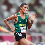 TOKYO, JAPAN August 3:   Abidine Abidine of Mauritania in action during the Men's 5000m round one heat one race at the Olympic Stadium during the Tokyo 2020 Summer Olympic Games on August 3rd, 2021 in Tokyo, Japan. (Photo by Tim Clayton/Corbis via Getty Images)
