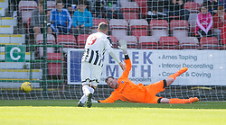 Dunfermline's Shaun Byrne scored their second goal past Cowdenbeath's keeper Michael Andrews. <br /> Dunfermline 5 v 1 Cowdenbeath, Scottish League Cup game played today at East End Park.