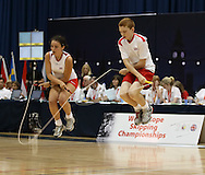 Loughborough, England - Saturday 31 July 2010: The England team in action in the single rope freestyle event during the World Rope Skipping Championships held at Loughborough University, England. The championships run over 7 days and comprise junior categories for 12-14 year olds in the World Youth Tournament, 15-17 year olds male and female championships, and any age open championships. In the team competitions, 6 events are judged, the Single Rope Speed, Double Dutch Speed Relay, Single Rope Pair Freestyle, Single Rope Team Freestyle, Double Dutch Single Freestyle and Double Dutch Pair Freestyle. For more information check www.rs2010.org. Picture by Andrew Tobin/Picture It Now.