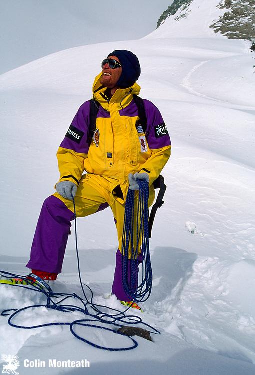 Australian mountaineer Greg Mortimer  on Chongtar during first ascent 1994, Chinese Karakoram