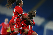 Wales women players celebrate their goal scored by Hayley Ladd ® Wales Women v Kazakhstan Women, 2019 World Cup qualifier match at the Cardiff City Stadium in Cardiff , South Wales on Friday 24th November 2017.    pic by Andrew Orchard