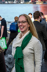Pictured: Lorna Slater<br /><br />The party's co-leaders, Patrick Harvie and Lorna Slater, were joined  by candidates as they gathered at the iconic Forth Bridge to launch their general election campaign, demanding climate action.<br /><br />Ger Harley | EEm 8 November 2019