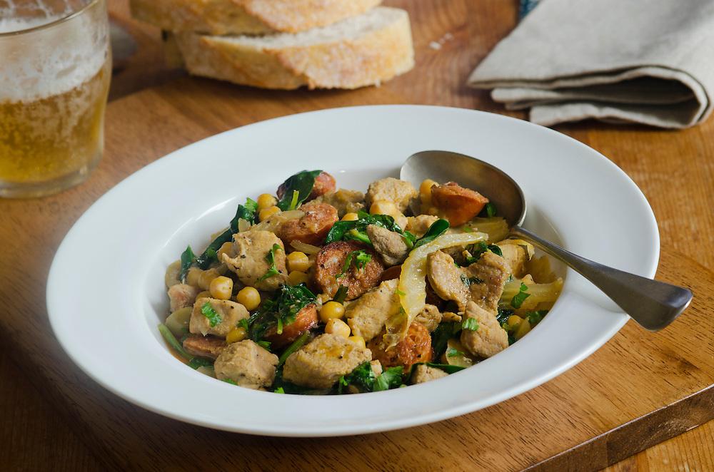 Pork, chorizo, fennel and chickpea casserole