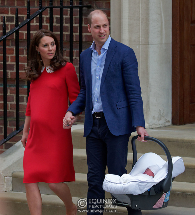 London, United Kingdom - 23 April 2018<br /> Prince William and Kate Middleton, The Duke and Duchess of Cambridge show off their new baby as they leave the Lindo Wing of St. Mary's Hospital, Paddington, London, England, UK, Europe.<br /> www.newspics.com/#!/contact<br /> (photo by: EQUINOXFEATURES.COM)<br /> Picture Data:<br /> Photographer: Equinox Features<br /> Copyright: ©2018 Equinox Licensing Ltd. +448700 780000<br /> Contact: Equinox Features<br /> Date Taken: 20180423<br /> Time Taken: 17554095