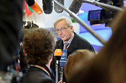 Jean-Claude Juncker, Luxembourg's prime minister, speaks to the media as he departs, following an emergency EU Summit to solve Europe's debt crisis at the European Council headquarters in Brussels, Belgium, on Thursday, Oct. 27, 2011. (Photo © Jock Fistick)