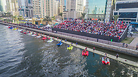 Aerial view of F1 H20 competition in Khalid lake in Sharjah, U.A.E.