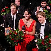 NLD/Den Haag/20111212 - NOC / NSF Sportgala 2011, keeper Edwin van der Sar, Sportvrouw van het jaar 2011 zwemster Ranomi Kromowidjo, Sportman van het jaar turner Epke Zonderland