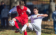 Chaminade's Zach White and CBC's Henry Etzel tangle during a Class 4 quarterfinal soccer match on Saturday, Nov. 10, 2018, at Chaminade College Preparatory School in Creve Coeur, Mo.  Gordon Radford   Special to STLhighschoolsports.com
