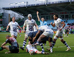 Harry Randall of Bristol Bears is congratulated by teammates after scoring their 3rd Try - Mandatory by-line: Matt Impey/JMP - 26/12/2020 - RUGBY - Twickenham Stoop - London, England - Harlequins v Bristol Bears - Gallagher Premiership Rugby