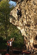 Alex Honnold soloing Thumbellina, E6, in a pair of borrowed trainers. Ina's Rock, Churnet Valley