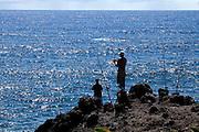 Coastline fishing, Onemea, Hamakua coast, Island of Hawaii