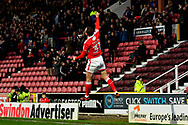 Goal - Matt Taylor (31) of Swindon Town leaps in the air as he celebrates scoring a goal to give a 1-0 lead to the home team during the EFL Sky Bet League 2 match between Swindon Town and Yeovil Town at the County Ground, Swindon, England on 10 April 2018. Picture by Graham Hunt.