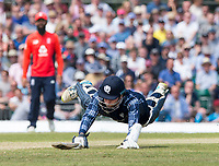 EDINBURGH, SCOTLAND - JUNE 10:  A close call for Dylan Budge during the first innings of the one-off ODI at the Grange Cricket Club on June 10, 2018 in Edinburgh, Scotland. (Photo by MB Media/Getty Images)