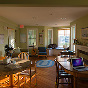 Typical Cape Cod style living room interior hostel in Hyannis