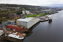 Aerial view of recently nationalised Ferguson Marine shipyard and  Calmac ferry Glen Sannox  on the Clyde at Port Glasgow, Scotland ,UK
