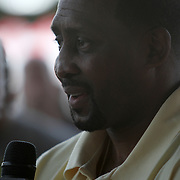 """Inductee Thomas """"Hitman"""" Hearns speaks to the media during the 23rd Annual International Boxing Hall of Fame Induction ceremony at the International Boxing Hall of Fame on Sunday, June 10, 2012 in Canastota, NY. (AP Photo/Alex Menendez)"""