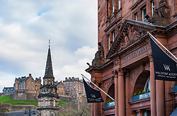 Waldorf Astoria Edinburgh - The Caledonian<br /> Hotel in Edinburgh West End with Edinburgh Castle to rear Scotland, UK