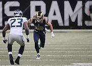 Football - NFL- Seattle Seahawks at St. Louis Rams.St. Louis Rams wide receiver Danny Amendola (16) takes off from the line of scrimmage as Seattle Seahawks cornerback Marcus Trufant (23) adjusts to cover him in the third quarter at the Edward Jones Dome in St. Louis.  The Rams defeated the Seahawks, 19-13.