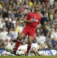 Photo Aidan Ellis.<br /> Digitalsport<br /> NORWAY ONLY<br /> <br /> Leeds United v Charlton Athletic.<br /> FA Barclaycard Premiership.<br /> 08/05/2004.<br /> Leeds Alan Smith and Charlton's Johnathon Fortune