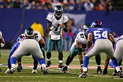Philadelphia Eagles quarterback Michael Vick #7 takes a snap during the NFL game between the Philadelphia Eagles and the New York Giants on December 13th 2009. The Eagles won 45-38 at Giants Stadium in East Rutherford, New Jersey. (Photo By Brian Garfinkel)