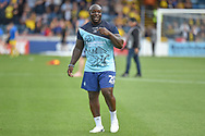 Wycombe Wanderers striker Adebayo Akinfenwa (20) laughing on the pitch during the EFL Sky Bet League 1 match between Wycombe Wanderers and Oxford United at Adams Park, High Wycombe, England on 15 September 2018.