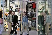 Moscow, Russia, 06/05/2004..Customers and staff in Megamall, Russia's largest shopping complex.