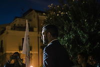 MILAZZO, ITALY - 27 OCTOBER 2017: Five Star Movement (Italian: Movimento 5 Stelle, or M5S) candidate Giancarlo Cancelleri, running for governor of Sicily in the upcoming Sicilan regional election, gets up on a stage where he will give a speech, during a rally here in Milazzo, Italy, on October 27th 2017.<br /> <br /> The Sicilian regional election for the renewal of the Sicilian Regional Assembly and the election of the President of Sicily will be held on 5th November 2017.