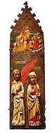 Gothic painted Panel of the Announcement to the Shepherds and Annunciation by anonymous artist from Navarra. Tempera and varnished metal leaf on wood and applied carving. Circa 1335-1350. 90.8 x 171.2 x 5.8 cm. From the parish church of Arteta (Navarra).. National Museum of Catalan Art, inv no: 004368-000