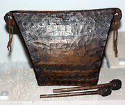 Tall hollow log drum, Nigeria early 20th Century. The drum would be played in a standing position