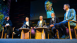 © Licensed to London News Pictures. 28/05/2014. Footballer Legends Geoff Hurst, Osvaldo Ardiles, Ricardo Villa and Alan Smith appear at The Hay Festival of Literature and Arts which celebrates its 27th year in Wales. Photo credit : Graham M. Lawrence/LNP