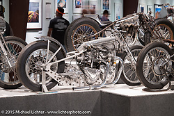 """John Stein's period Top Fuel Triumph drag bike with two 650cc pre-unit Triumph engines with a combined displacement of 1300ccMichael Lichter's Motorcycles as Art annual exhibition titled """"The Naked Truth"""" at the Buffalo Chip Gallery during the 75th Annual Sturgis Black Hills Motorcycle Rally.  SD, USA.  August 4, 2015.  Photography ©2015 Michael Lichter."""
