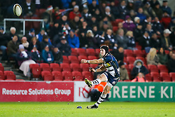 Bristol Rugby Fly-Half Matthew Morgan kicks a conversion - Mandatory byline: Rogan Thomson/JMP - 22/01/2016 - RUGBY UNION - Ashton Gate Stadium - Bristol, England - Bristol Rugby v Ulster A - British & Irish Cup.