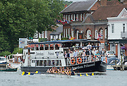 """Henley. Great Britain. University of California, Berkeley. USA. get a bit close to the """"Caversham Princess"""", [Thames Pleasure Boat] after their heat of the """"Ladies Challenge Plate"""" 175th  Henley Royal Regatta, Henley Reach. England. 15:49:06  Saturday  05/07/2014. [Mandatory Credit; Peter SPURRIER/Intersport-images]"""