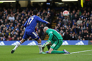 Pedro of Chelsea chips the ball over Goalkeeper Wilfredo Caballero of Manchester City but puts it wide. The Emirates FA Cup, 5th round match, Chelsea v Manchester city at Stamford Bridge in London on Sunday 21st Feb 2016.<br /> pic by John Patrick Fletcher, Andrew Orchard sports photography.