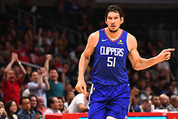 October 19, 2018 - Los Angeles, CA, U.S. - LOS ANGELES, CA - OCTOBER 19: Los Angeles Clippers Center Boban Marjanovic (51) runs down the court after scoring a basket during a NBA game between the Oklahoma City Thunder and the Los Angeles Clippers on October 19, 2018 at STAPLES Center in Los Angeles, CA. (Credit Image: © Brian Rothmuller/Icon SMI via ZUMA Press)