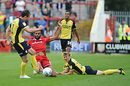 Accrington Stanley Defender and new loan signing, Michael Ihekwe (4) during the EFL Sky Bet League 1 match between Accrington Stanley and Scunthorpe United at the Fraser Eagle Stadium, Accrington, England on 1 September 2018.